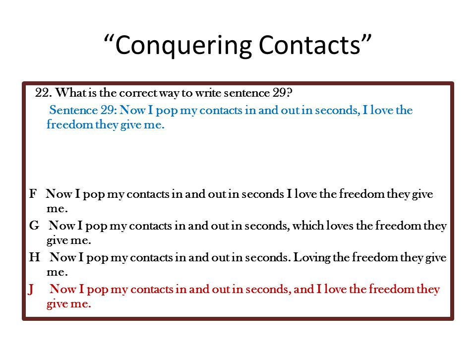 Conquering Contacts