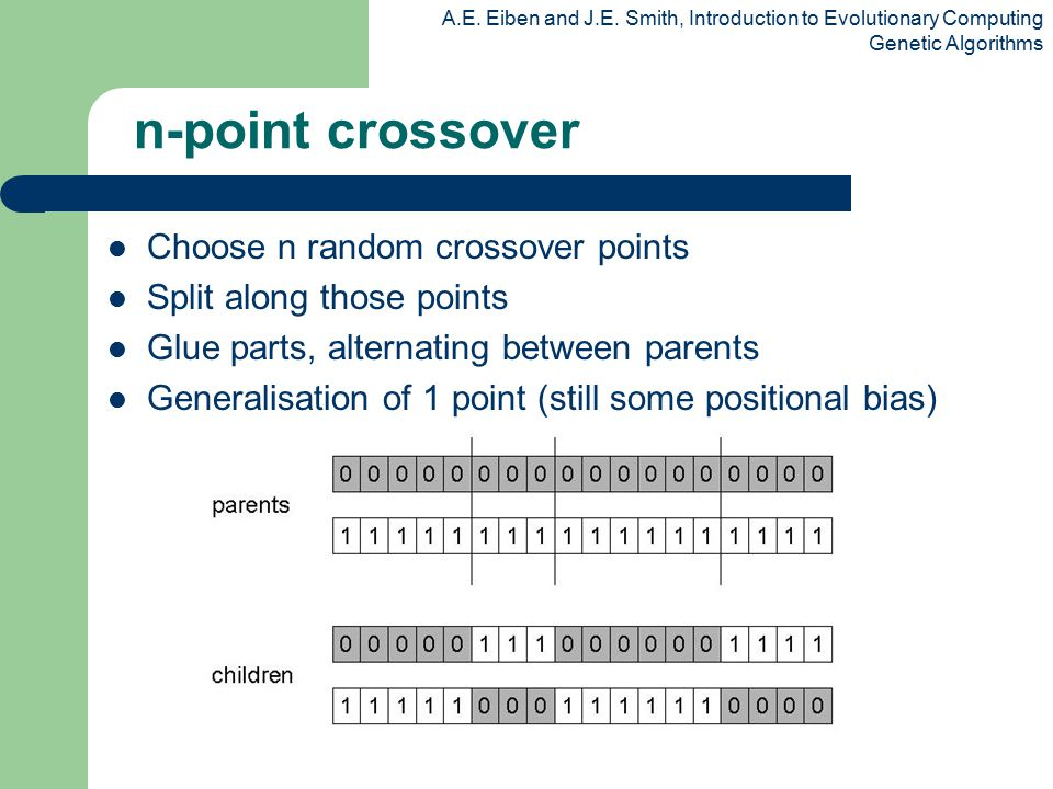 n-point crossover Choose n random crossover points