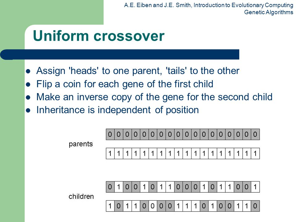 Uniform crossover Assign heads to one parent, tails to the other