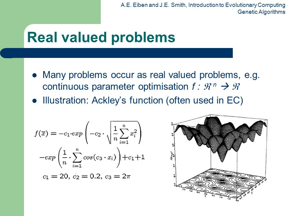 Real valued problems Many problems occur as real valued problems, e.g. continuous parameter optimisation f :  n  