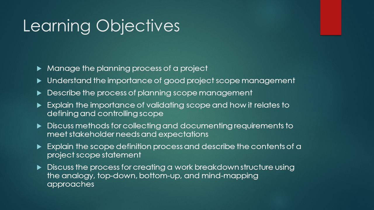 Learning Objectives Manage the planning process of a project