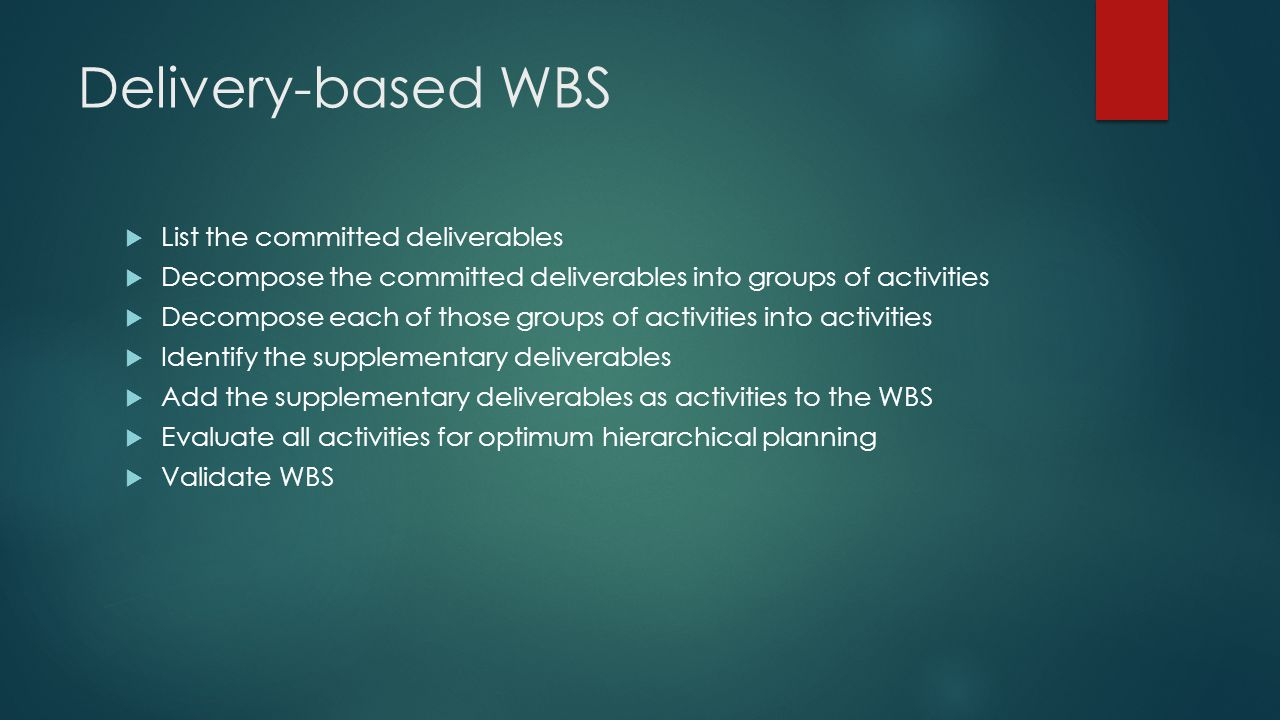 Delivery-based WBS List the committed deliverables