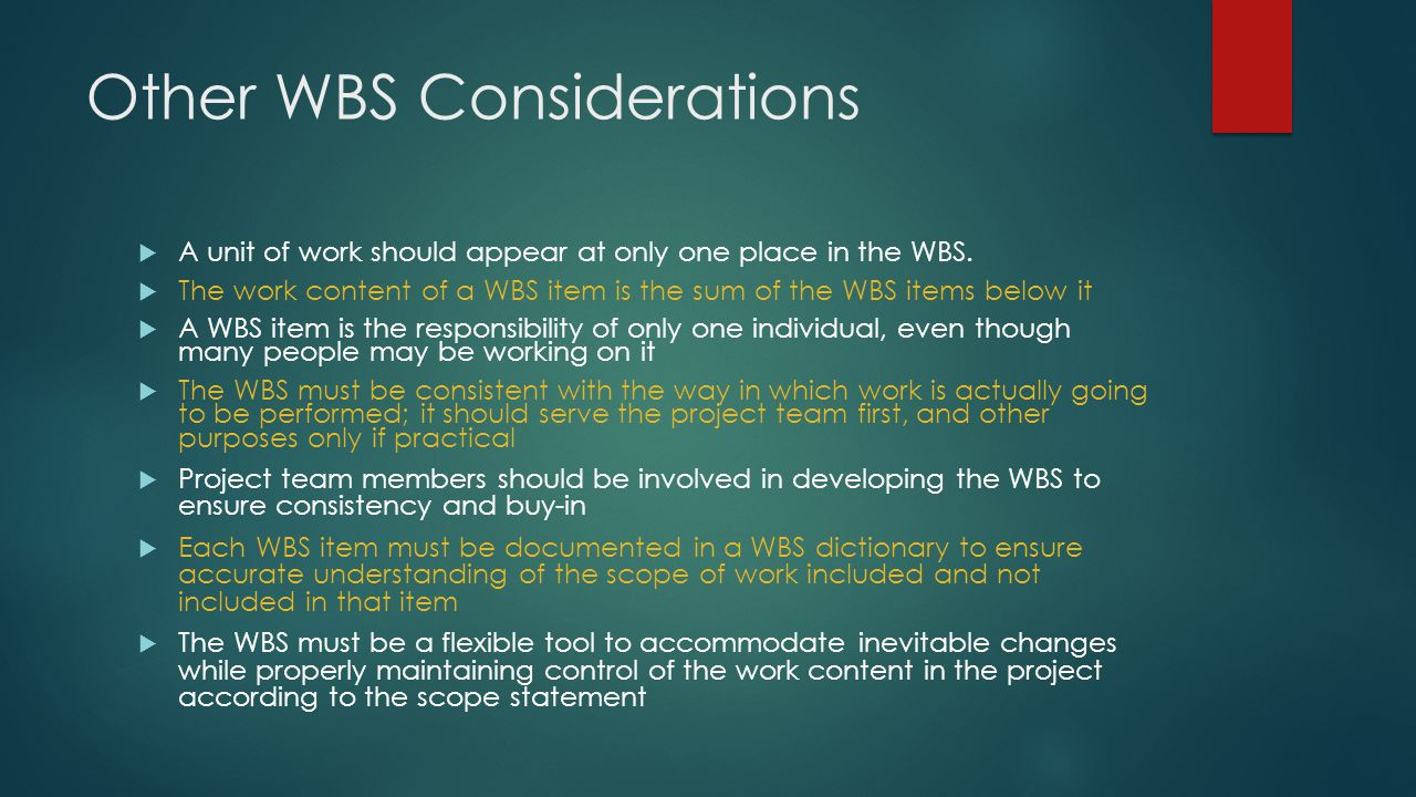 Other WBS Considerations