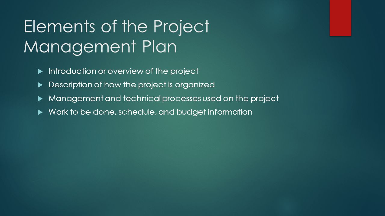 Elements of the Project Management Plan
