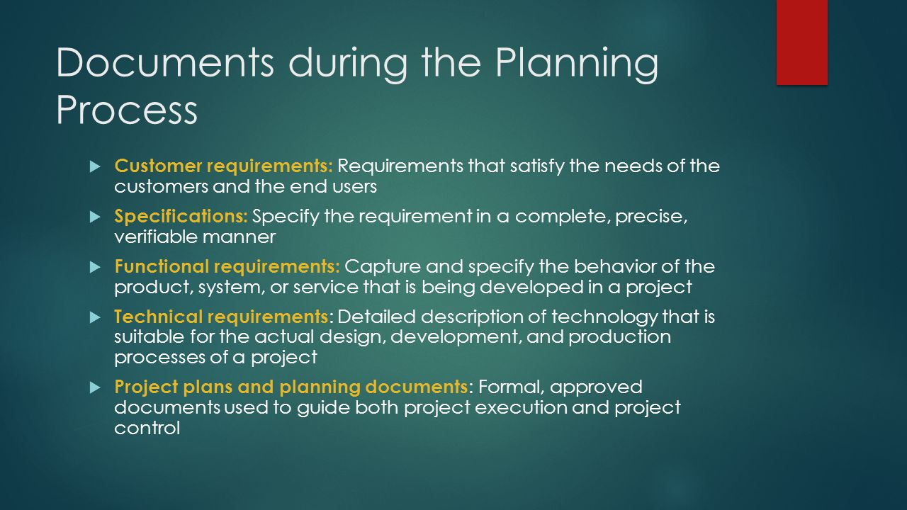 Documents during the Planning Process