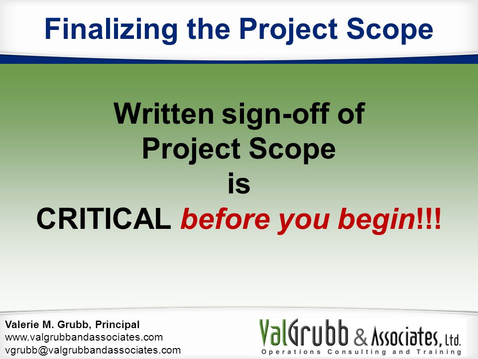 Finalizing the Project Scope