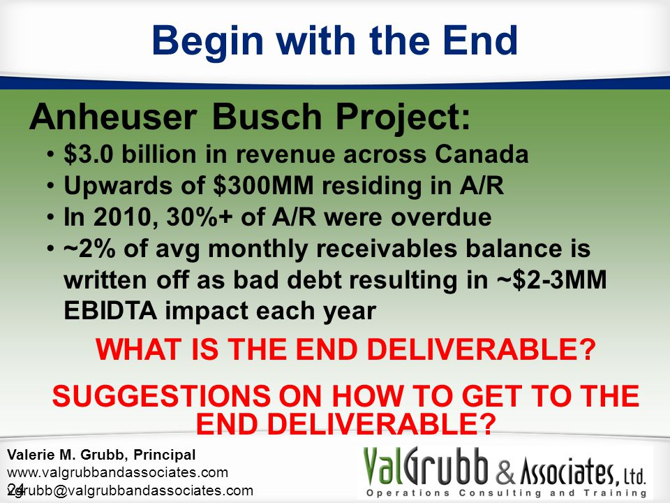 Begin with the End Anheuser Busch Project: