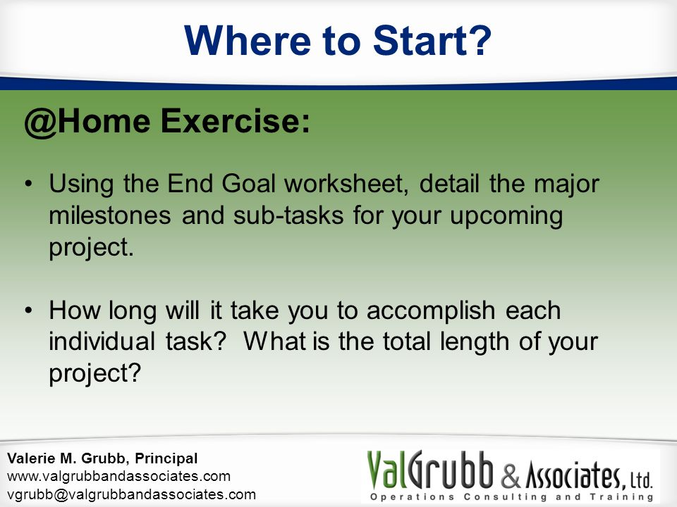 Where to Start @Home Exercise: