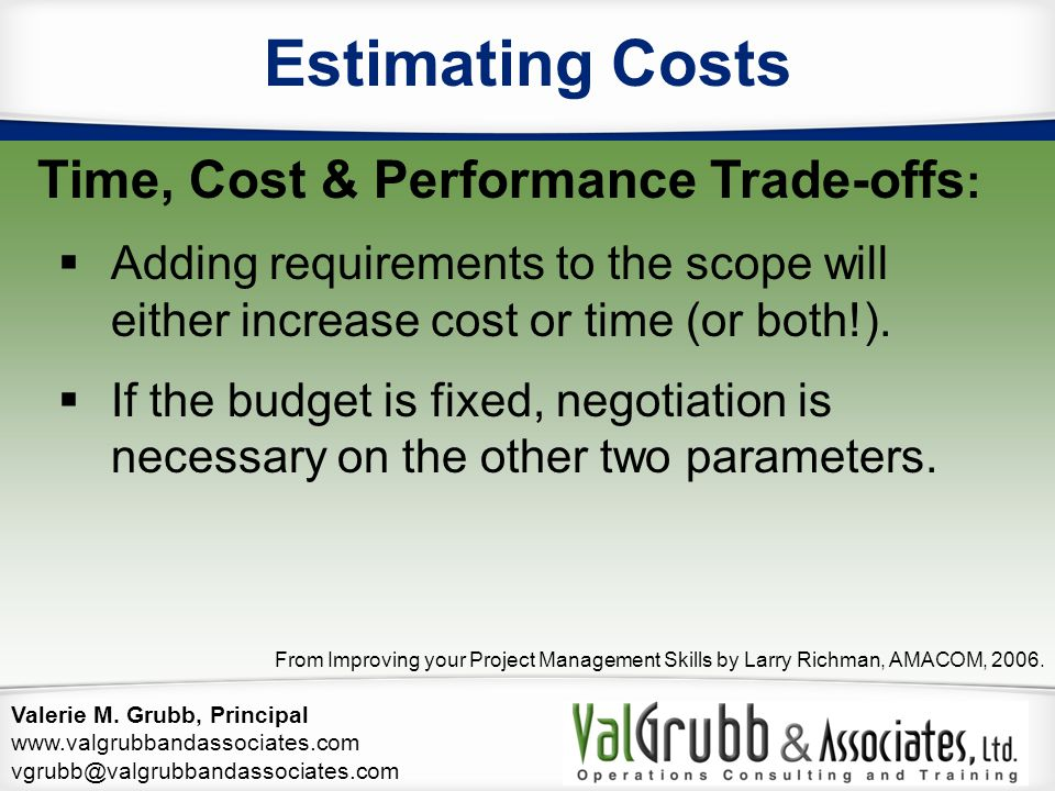 Estimating Costs Time, Cost & Performance Trade-offs:
