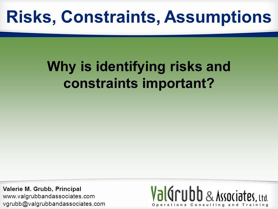 Risks, Constraints, Assumptions