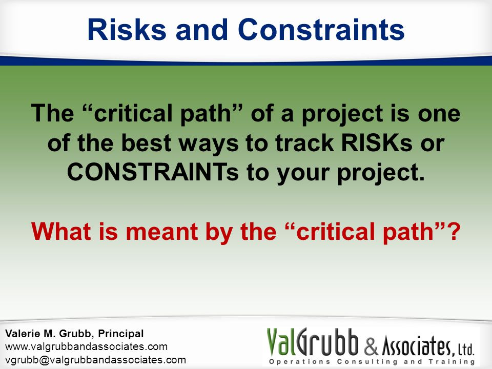Risks and Constraints