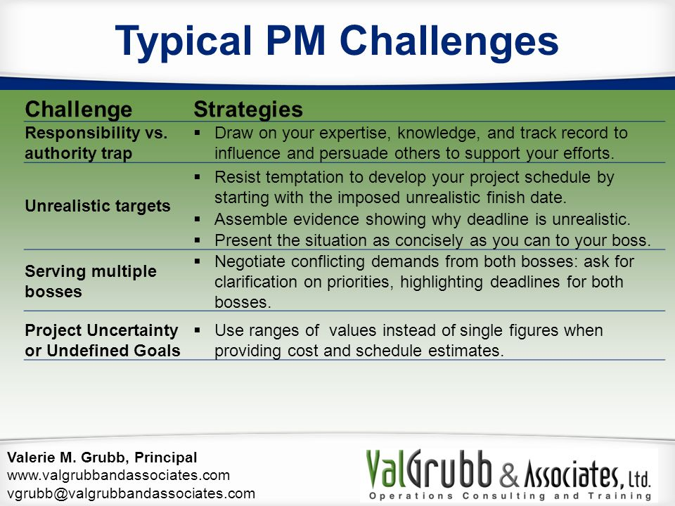 Typical PM Challenges Challenge Strategies