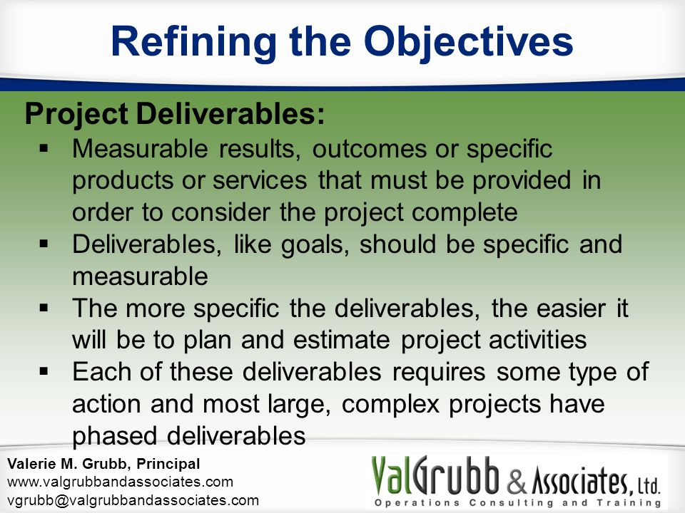 Refining the Objectives