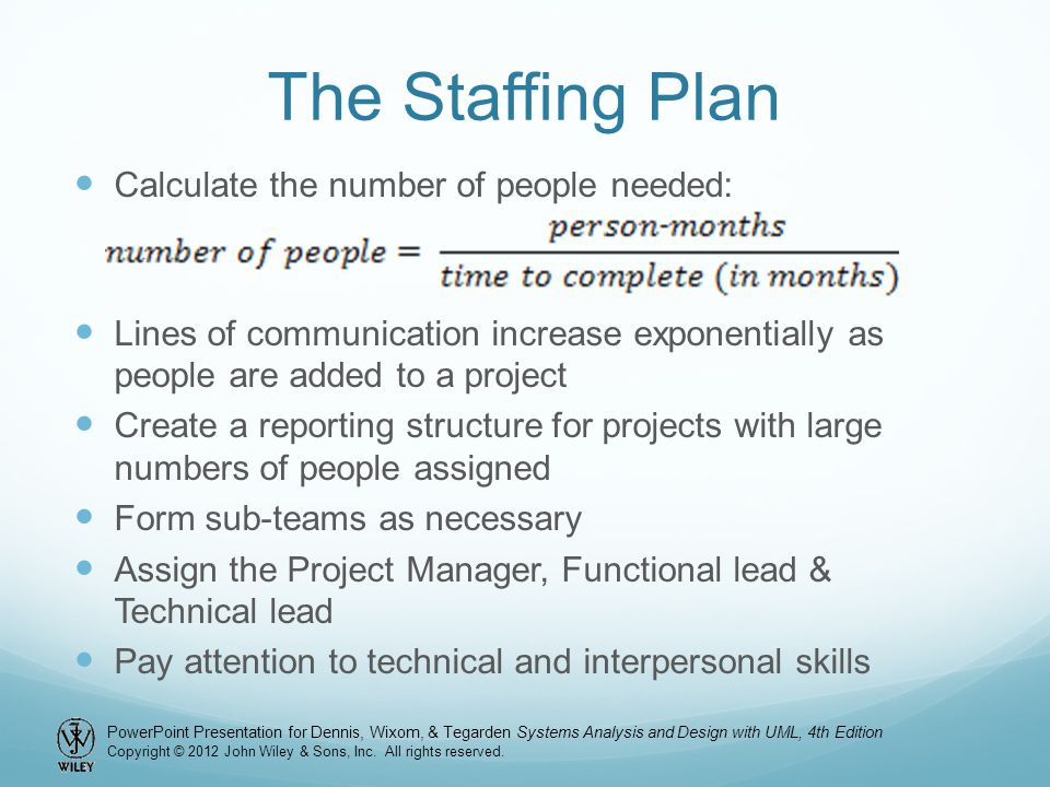 The Staffing Plan Calculate the number of people needed: