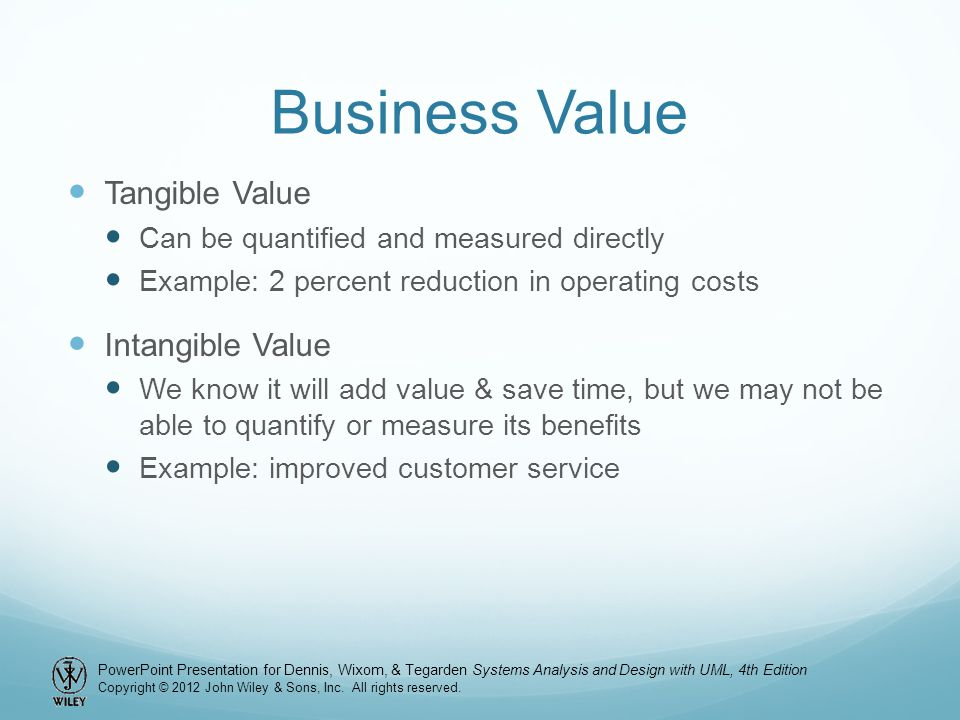 Business Value Tangible Value Intangible Value