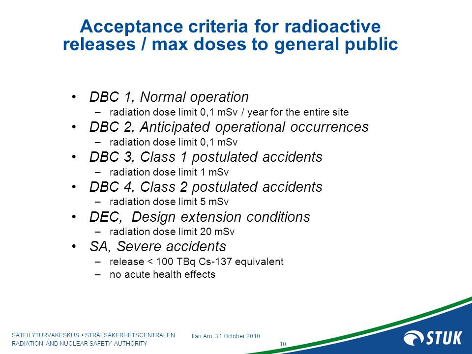 Acceptance criteria for radioactive releases / max doses to general public