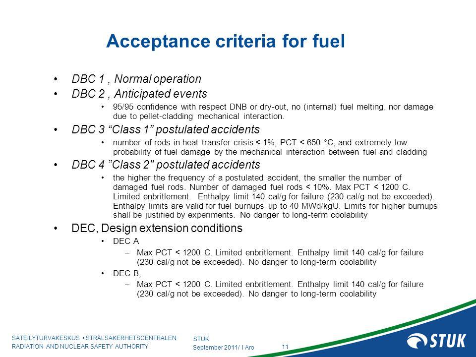Acceptance criteria for fuel
