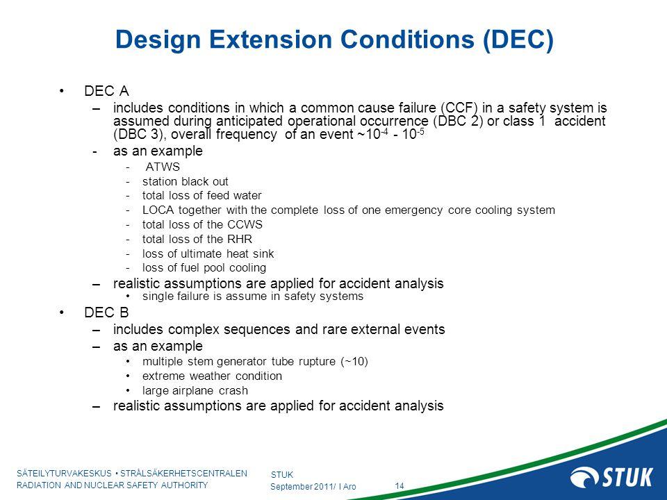 Design Extension Conditions (DEC)