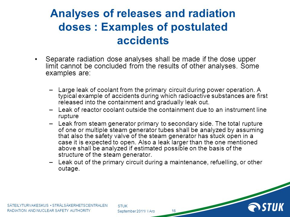 Analyses of releases and radiation doses : Examples of postulated accidents