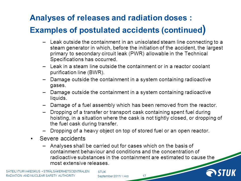 Analyses of releases and radiation doses : Examples of postulated accidents (continued)