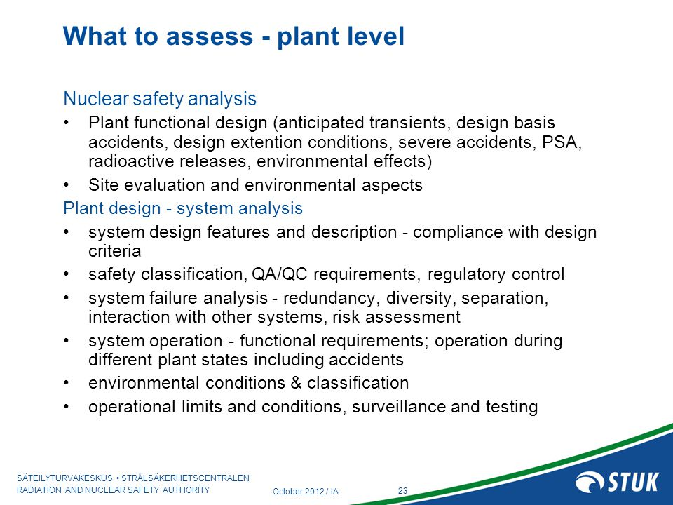 What to assess - plant level