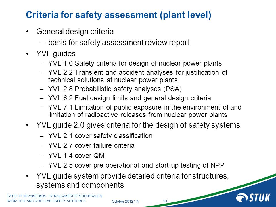Criteria for safety assessment (plant level)