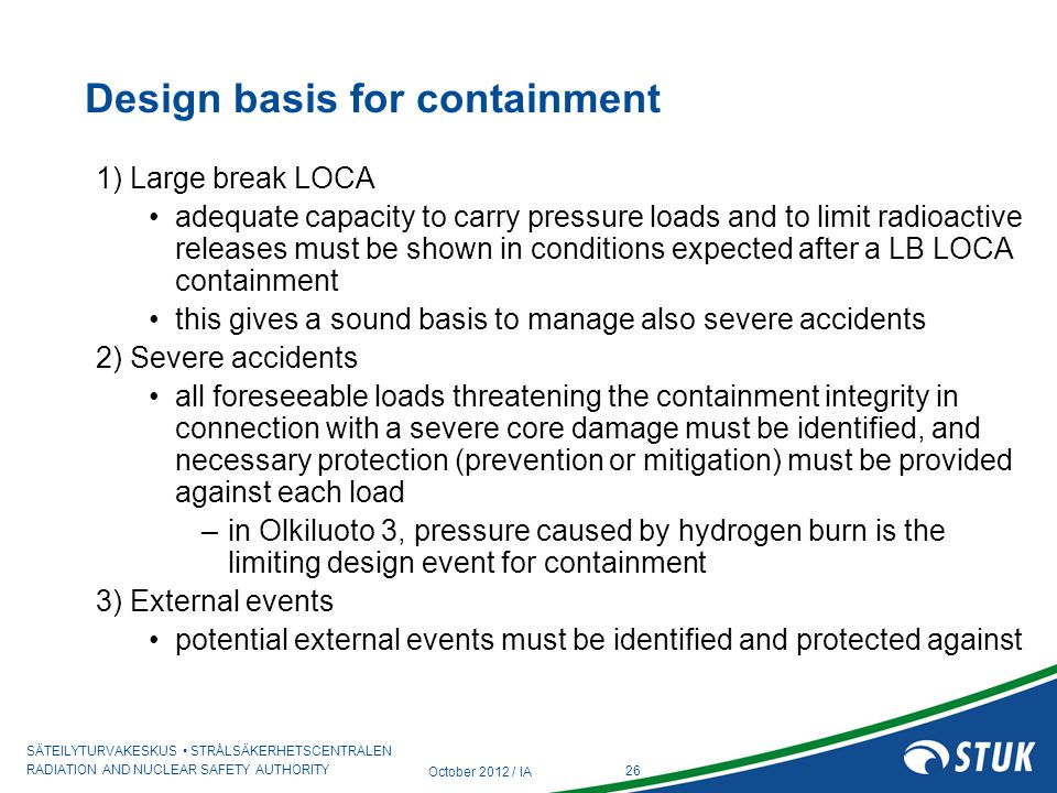 Design basis for containment
