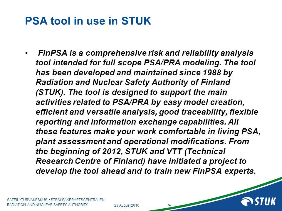 PSA tool in use in STUK