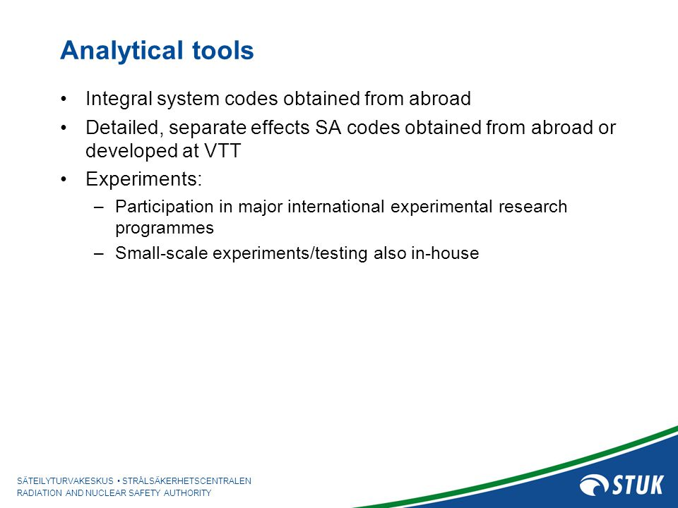 Analytical tools Integral system codes obtained from abroad
