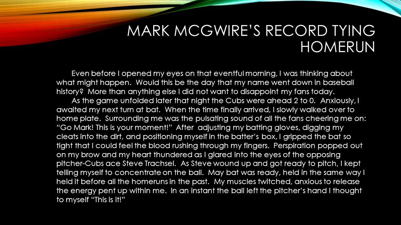 Mark McGwire's Record Tying Homerun