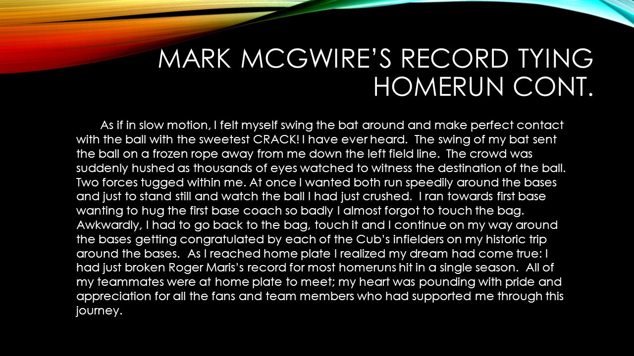 Mark McGwire's record tying homerun cont.