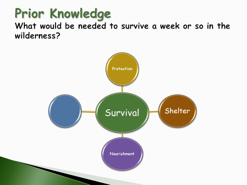Prior Knowledge What would be needed to survive a week or so in the wilderness