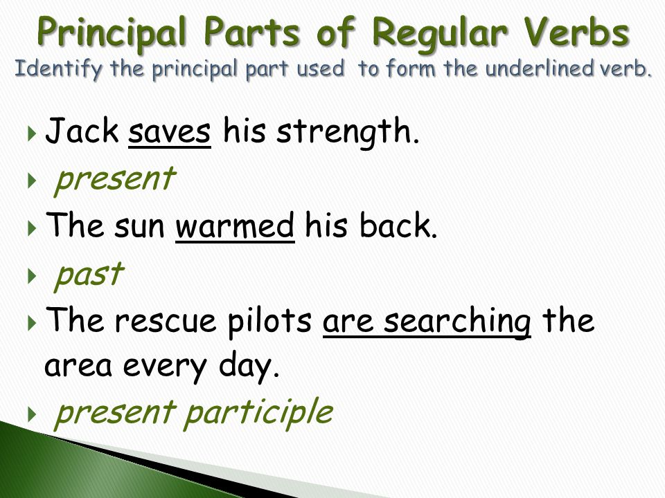 Principal Parts of Regular Verbs Identify the principal part used to form the underlined verb.