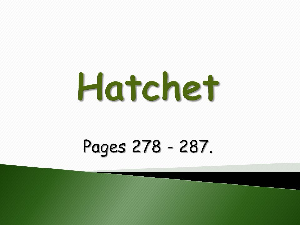 Hatchet Pages 278 - 287.