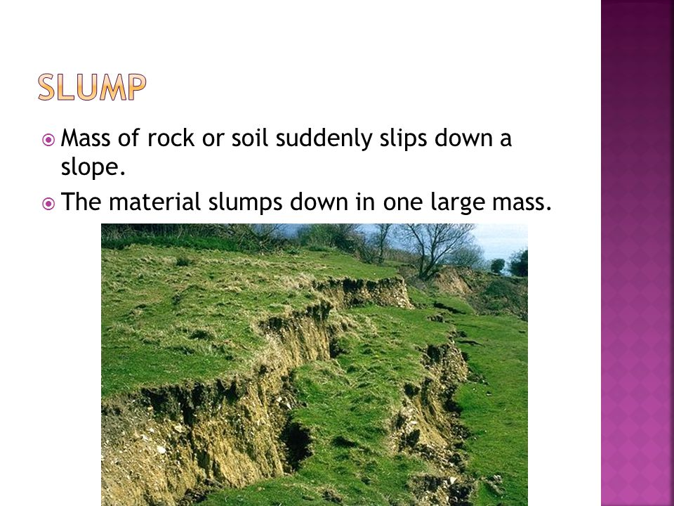 Slump Mass of rock or soil suddenly slips down a slope.
