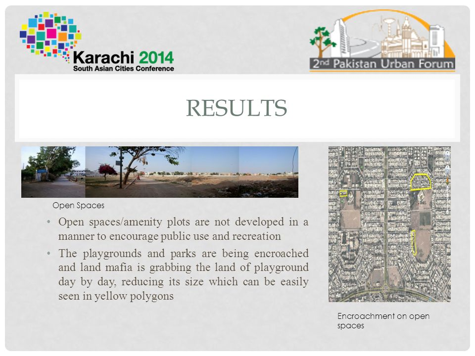 Results Open Spaces. Open spaces/amenity plots are not developed in a manner to encourage public use and recreation.