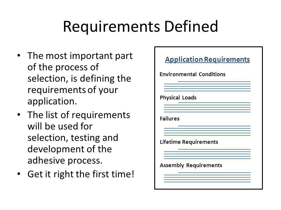 Requirements Defined Application Requirements. Environmental Conditions. Failures. Physical Loads.