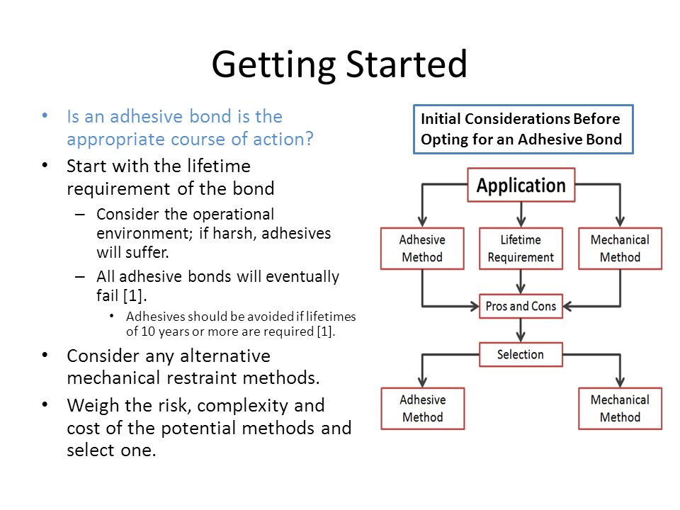 Getting Started Is an adhesive bond is the appropriate course of action Start with the lifetime requirement of the bond.