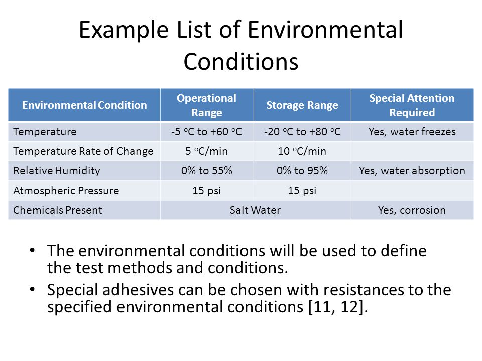 Example List of Environmental Conditions