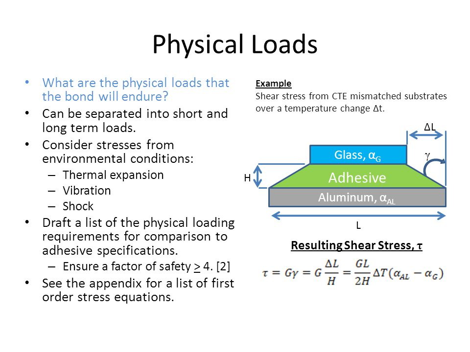 Physical Loads Adhesive