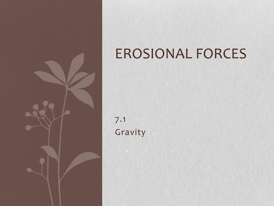 Erosional Forces 7.1 Gravity