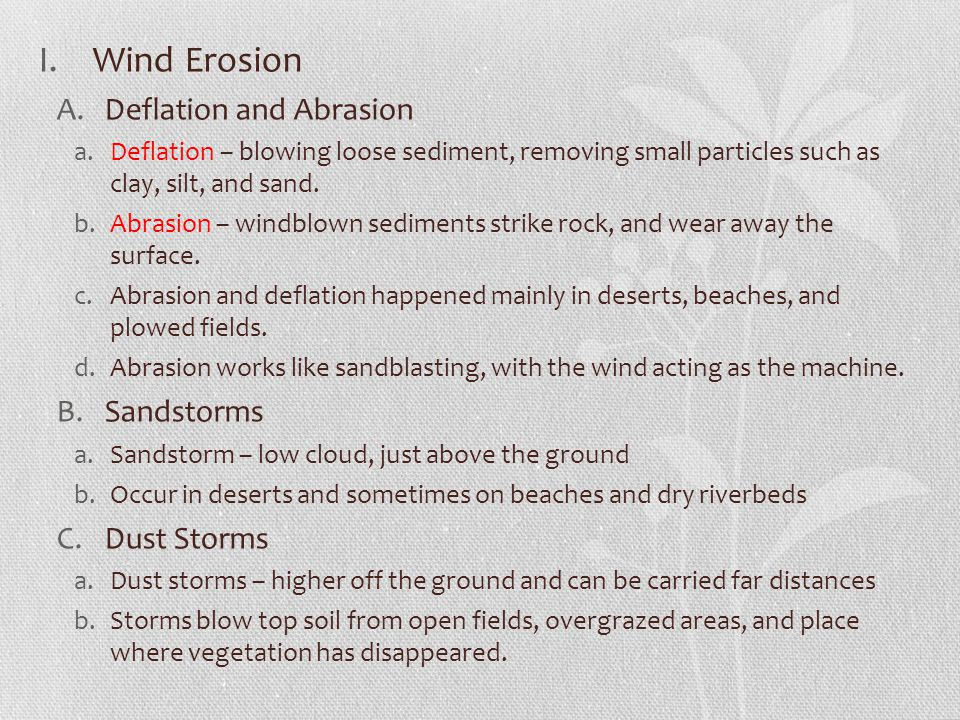 Wind Erosion Deflation and Abrasion Sandstorms Dust Storms