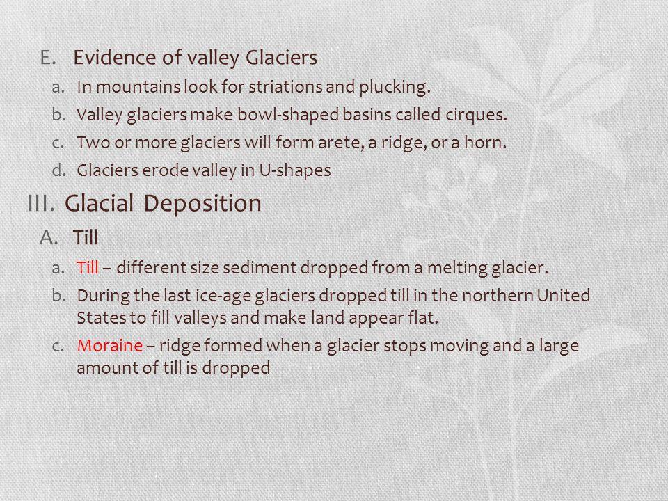 Glacial Deposition Evidence of valley Glaciers Till