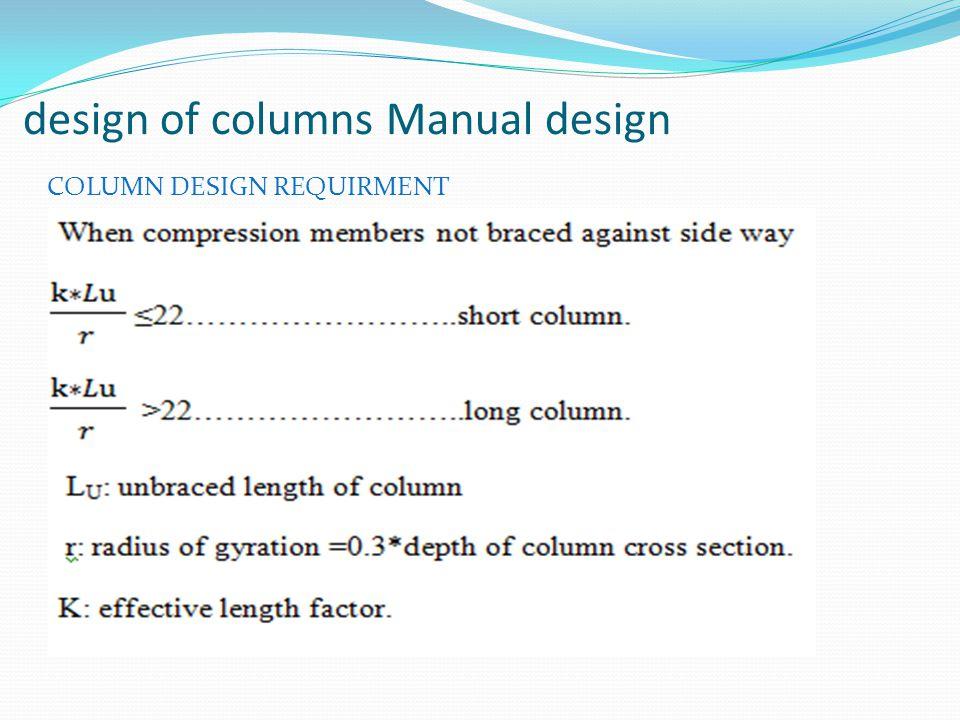 design of columns Manual design