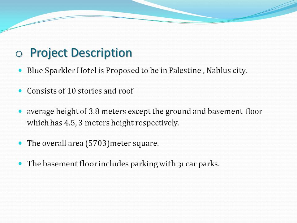 Project Description Blue Sparkler Hotel is Proposed to be in Palestine , Nablus city. Consists of 10 stories and roof.