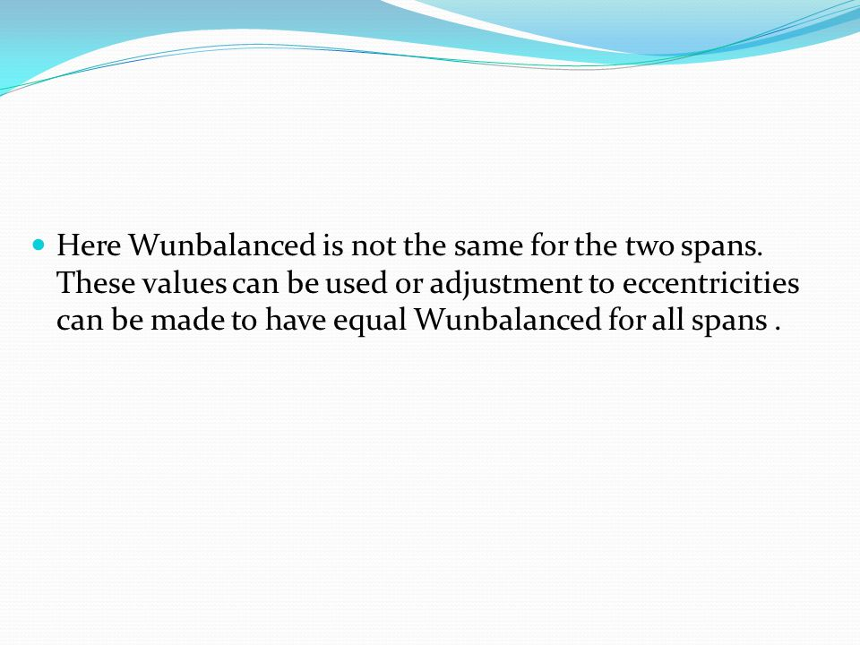 Here Wunbalanced is not the same for the two spans