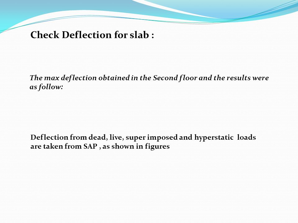 Check Deflection for slab :