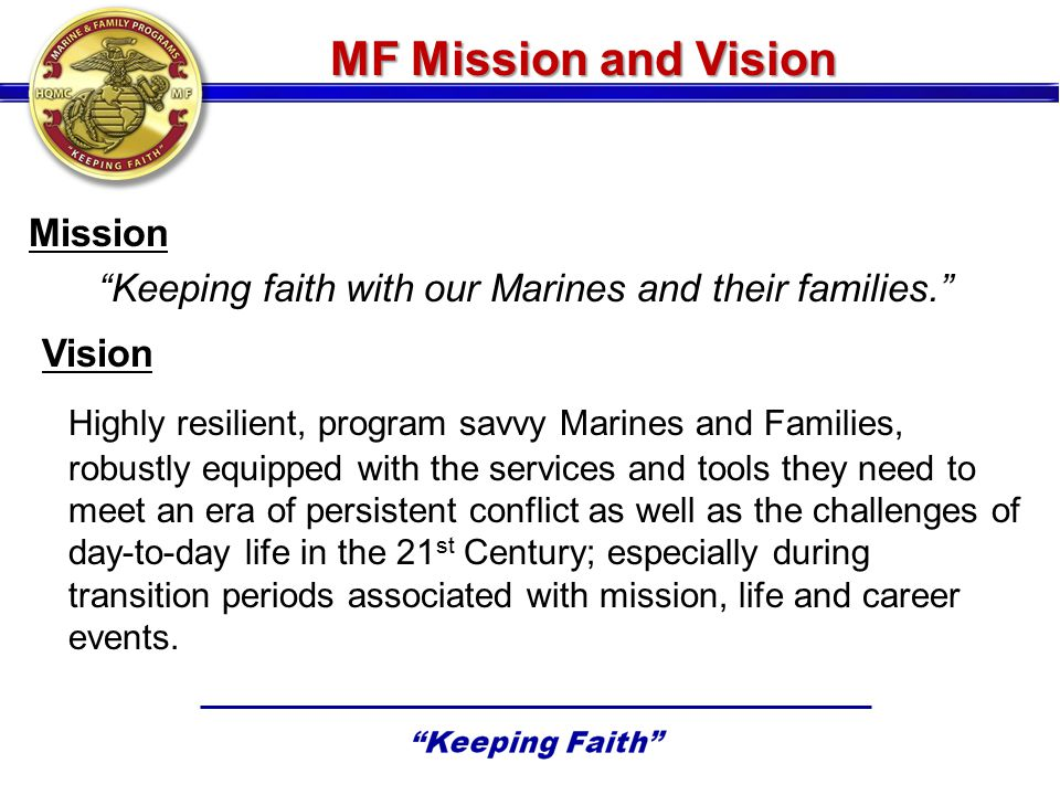 Keeping faith with our Marines and their families.
