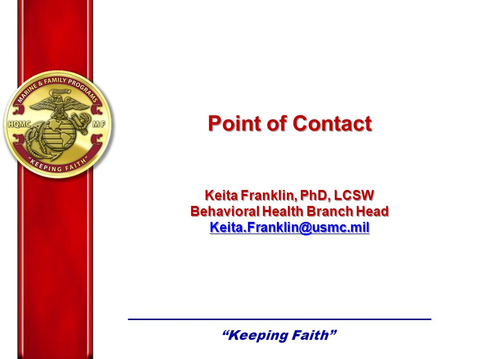 Keita Franklin, PhD, LCSW Behavioral Health Branch Head