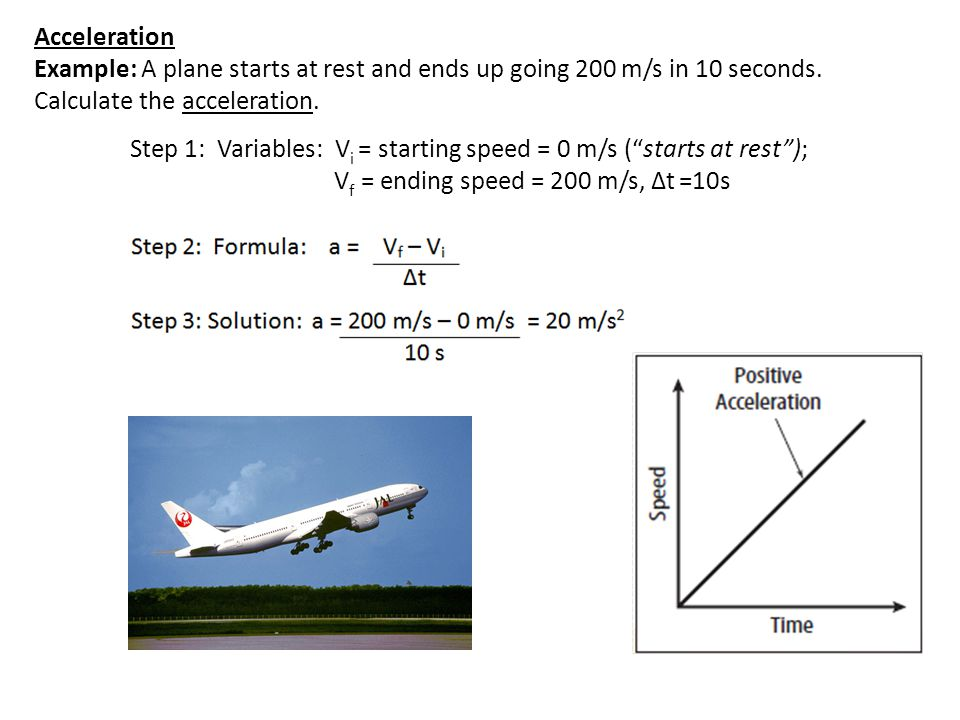 Acceleration Example: A plane starts at rest and ends up going 200 m/s in 10 seconds. Calculate the acceleration.